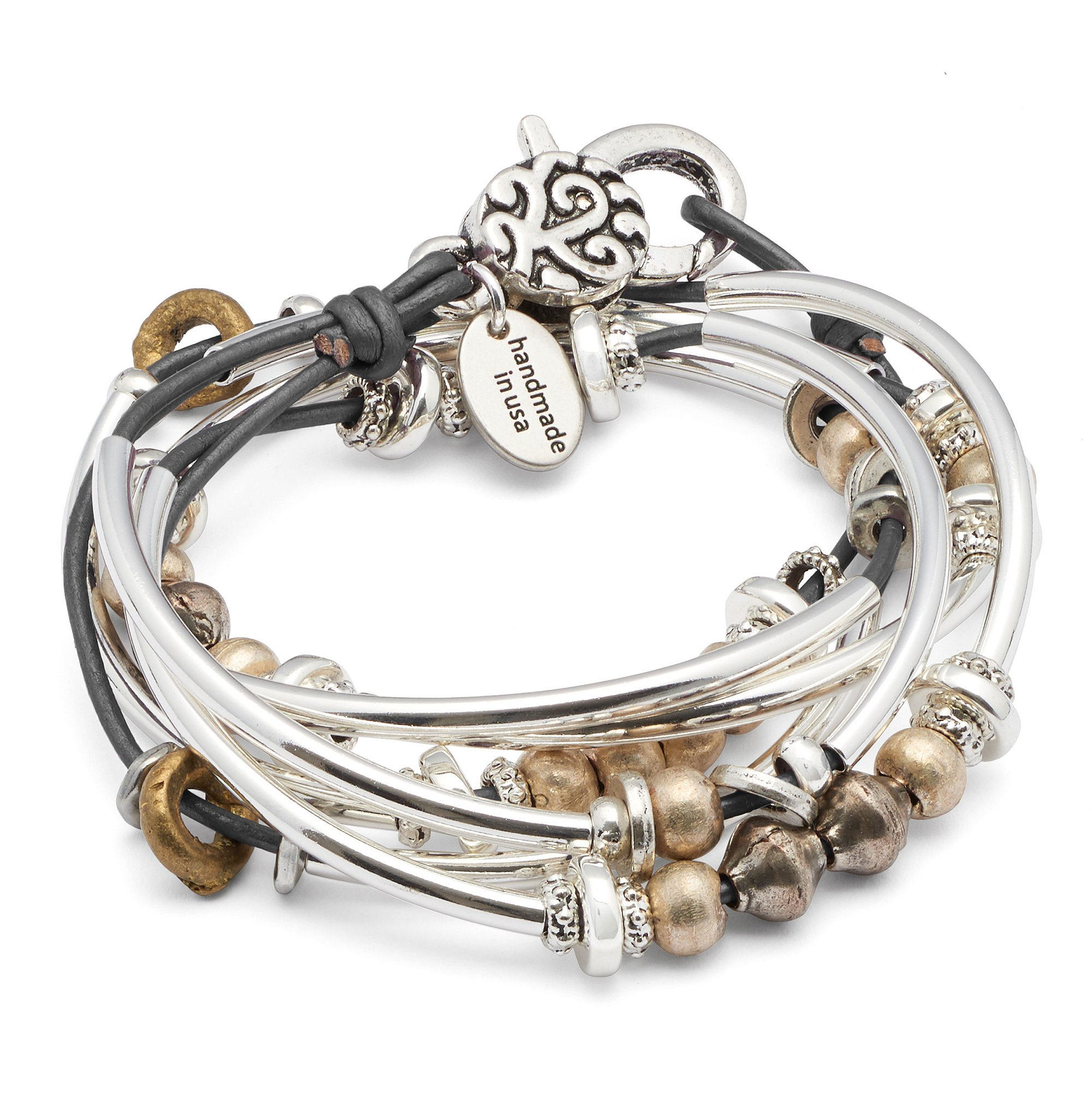 Lizzy James Bella Bracelet Necklace in Silver and Metallic Gunmetal Gray Leather by (MEDIUM)