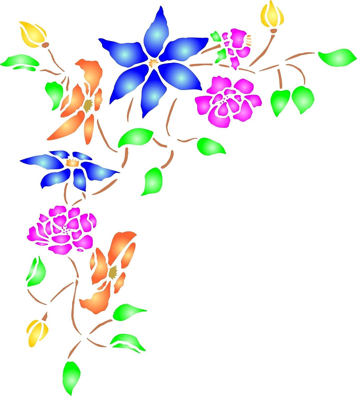 Flower Corner Stencil, 12.5 x 13.75 inch - Flowers Corner Design Stencils for Painting Template