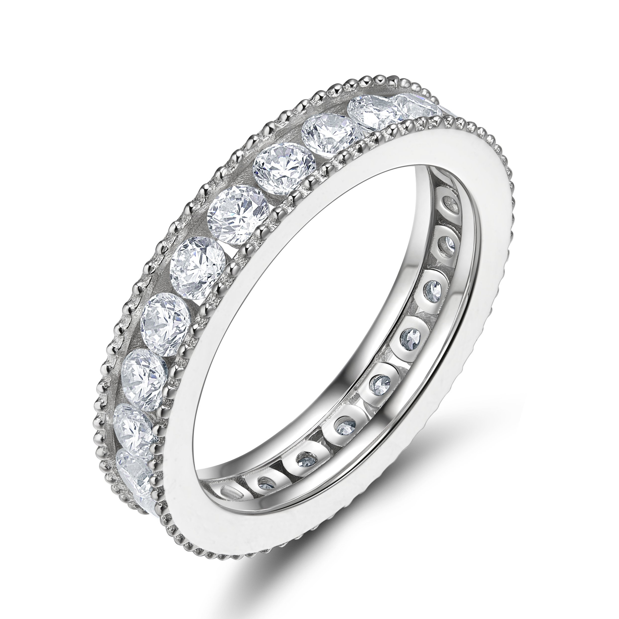 EAMTI 925 Sterling Silver Cubic Zirconia Wedding Ring for Women CZ Eternity Rings Engagement Wedding Band Size 10