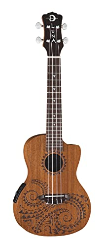 Luna Mahogany Series Tattoo Concert Acoustic-Electric Ukulele