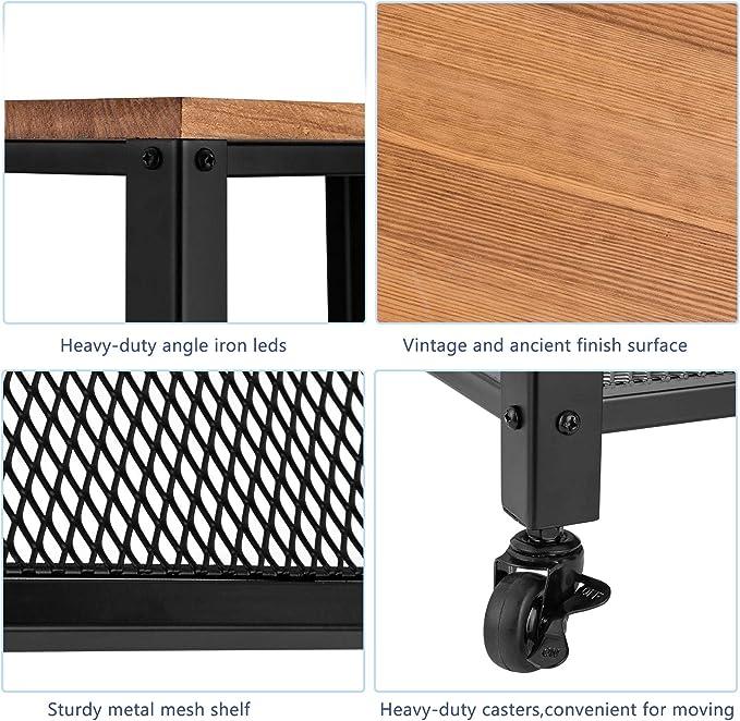 Amazon.com: Carro de servir vintage, 3 estantes enrollable ...