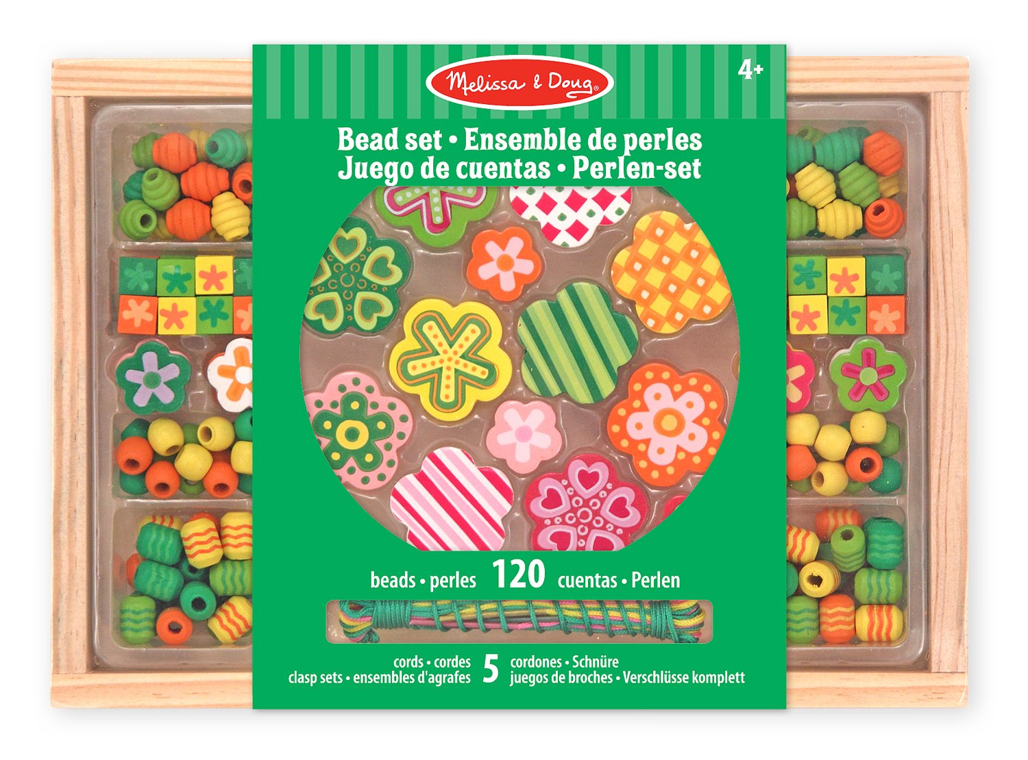 Melissa & Doug Flower Power Wooden Bead Set With 150+ Beads and 5 Cords for Jewelry-Making Melissa and Doug 14178