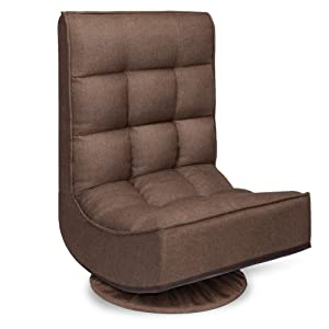 Best Choice Products 360-Degree Swivel Folding Cushioned Floor Gaming Chair for Home, Office w/ 4 Adjustable Positions - Coffee