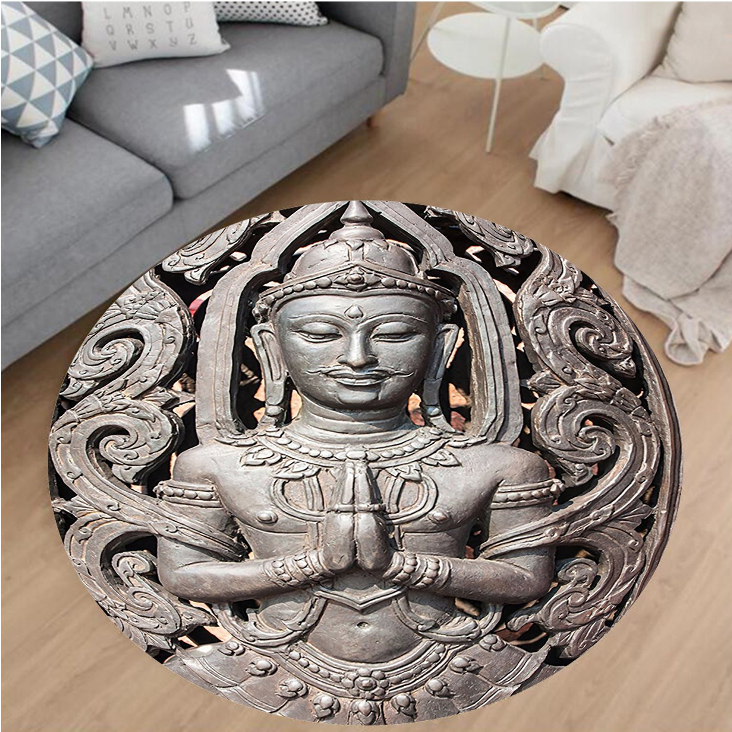 Nalahome Modern Flannel Microfiber Non-Slip Machine Washable Round Area Rug-uddha in Traditional Thai Art with Swirling Floral Patterns Carving Japanese Decor Bronze area rugs Home Decor-Round 32''