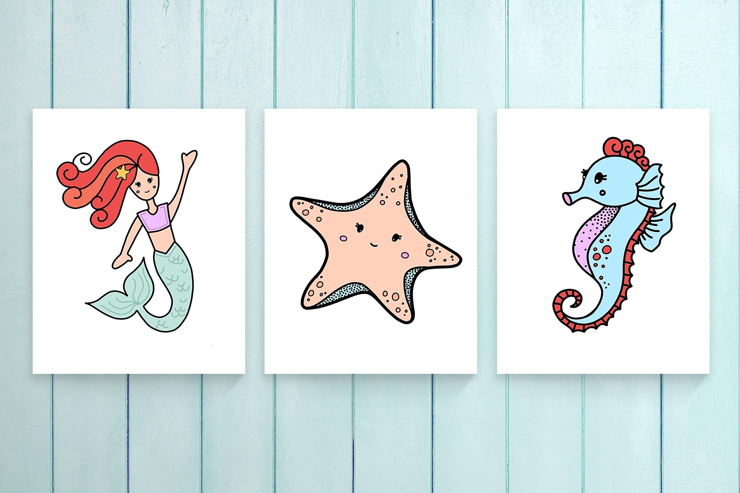 Three Piece Nursery Cardstock Prints 8.5 x11 ''Under the Sea''