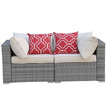 Peachy Do4U 3 12 Pieces Set Outdoor Patio Furniture Sectional Conversation Set All Weather Wicker Rattan Sofa Seat Back Cushions 3015 Grey 2 Pieces Ibusinesslaw Wood Chair Design Ideas Ibusinesslaworg