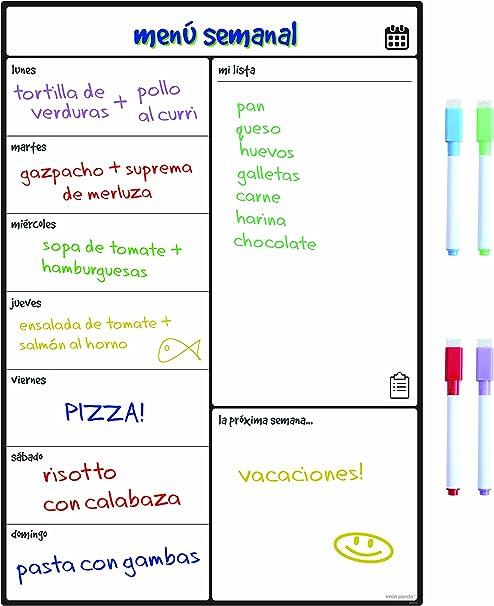 Smart Panda Calendario Magnético para Nevera - Ideal Planificador de Menú, Recordatorio, Lista de la Compra - Pizarra Magnética Incluye 4 Rotuladores de Color – Semanal – En Español: Amazon.es: Hogar
