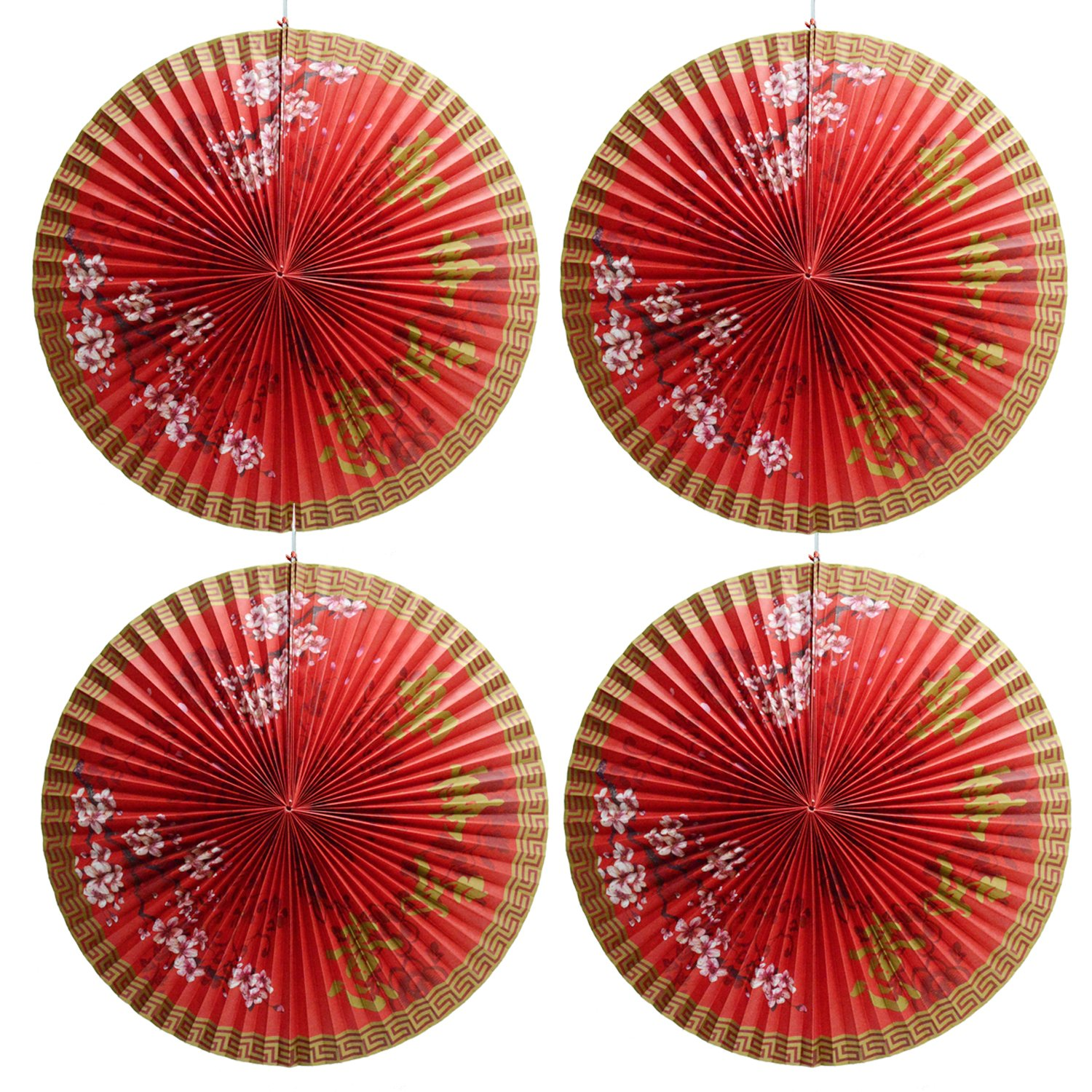 4 Paper Lanterns Decorative Unique Paper Fans Chinese Red Paper Lanterns Hanging Decortions for Mid-Autumn Festival, New Year Chinese Spring Festival, Wedding Parties Decorations, Event and Home Decor