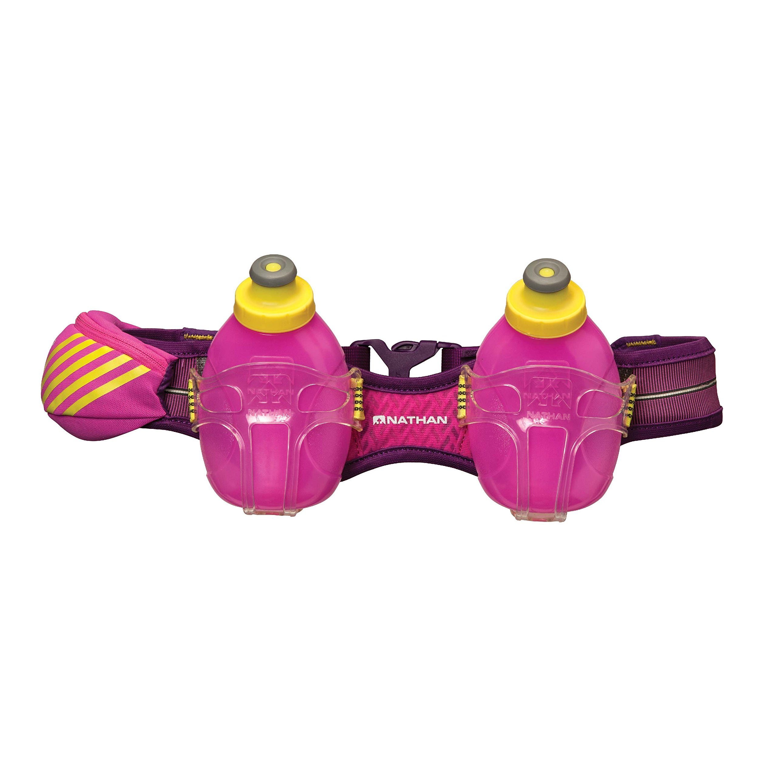 Nathan Mercury 2 Bottle Hydration Belt, Floro Fuchsia/Imperial Purple, One Size