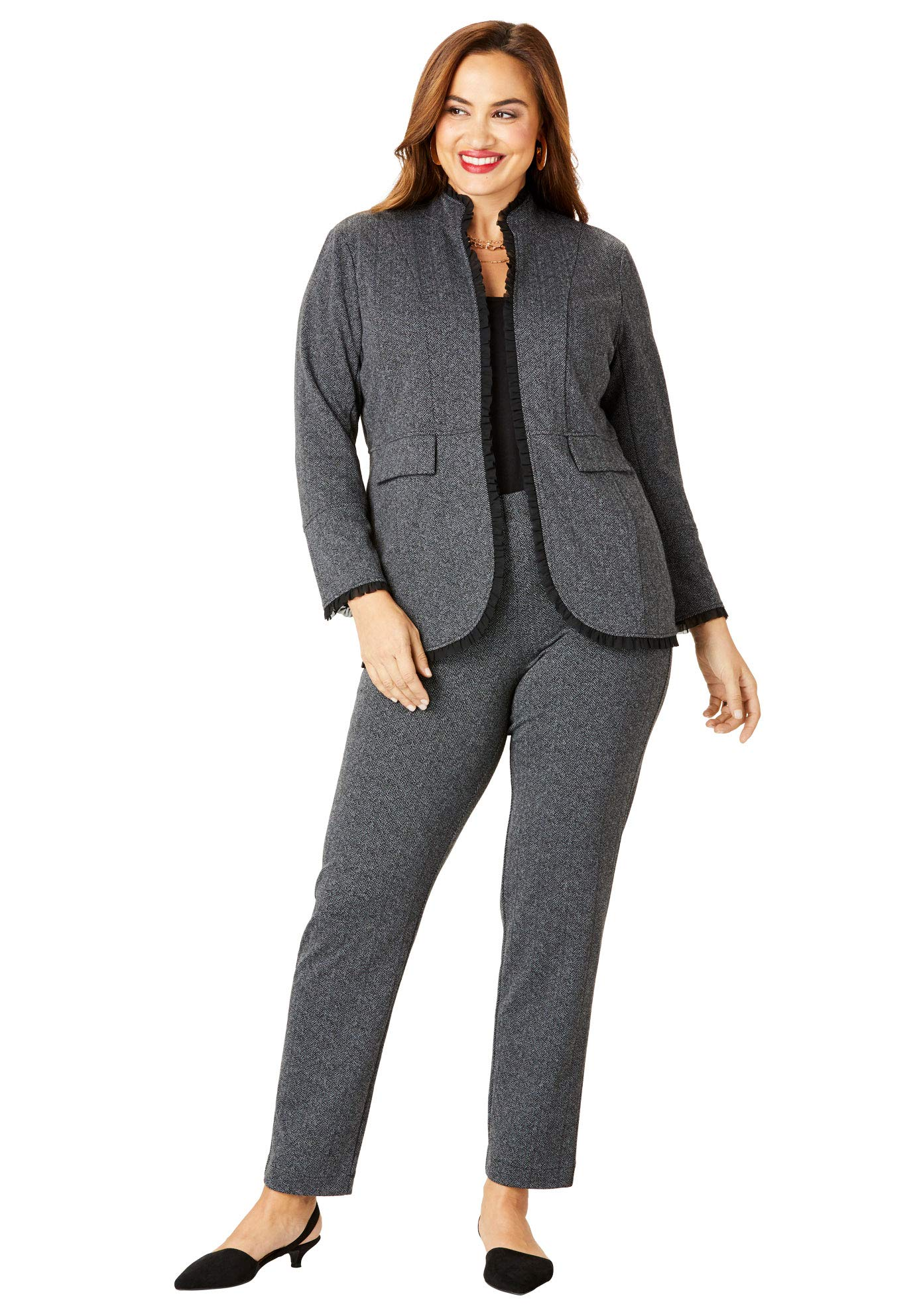 Roamans Women's Plus Size 2-Piece Ponte Pantsuit with Ruffle Trim - Black Herringbone, 18 W by Roamans