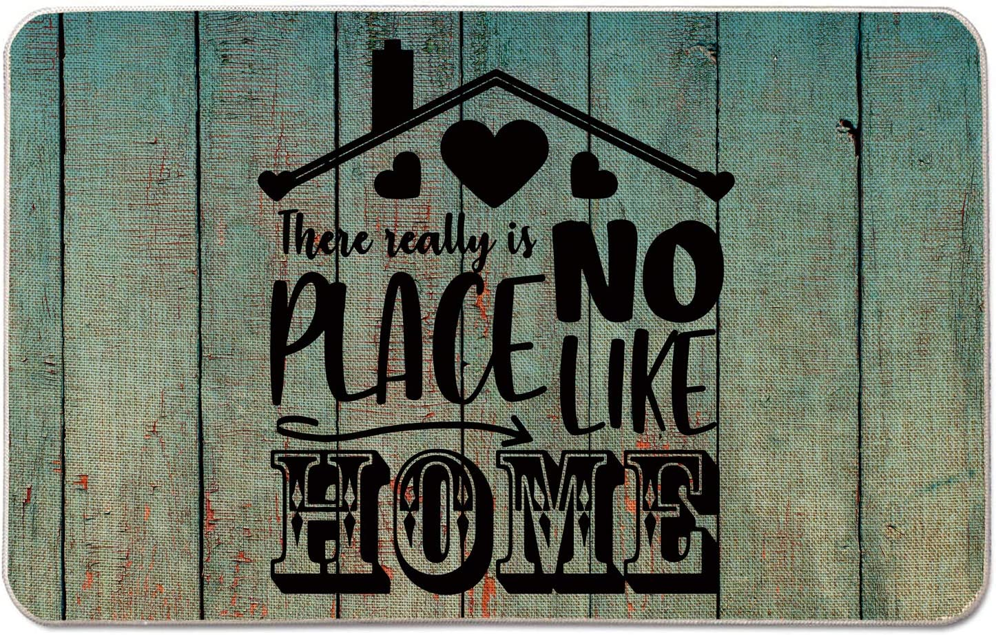 Occdesign Housewarming Welcome Mat for Front Door Farmhouse Rustic Decorative Entryway Outdoor Floor Doormat Durable Burlap Outdoor Rug | There Really is No Place Like Home