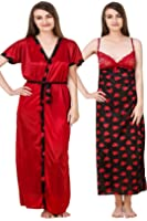 PHWOAR Women's Nightwear Dress (Set of 2 Pcs_Nighty with Robe)