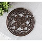 Cast Iron Round Trivet with Vintage Pattern