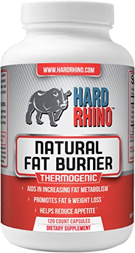 Hard Rhino Natural Fat Burner Capsules, 120 Vegetarian Capsules