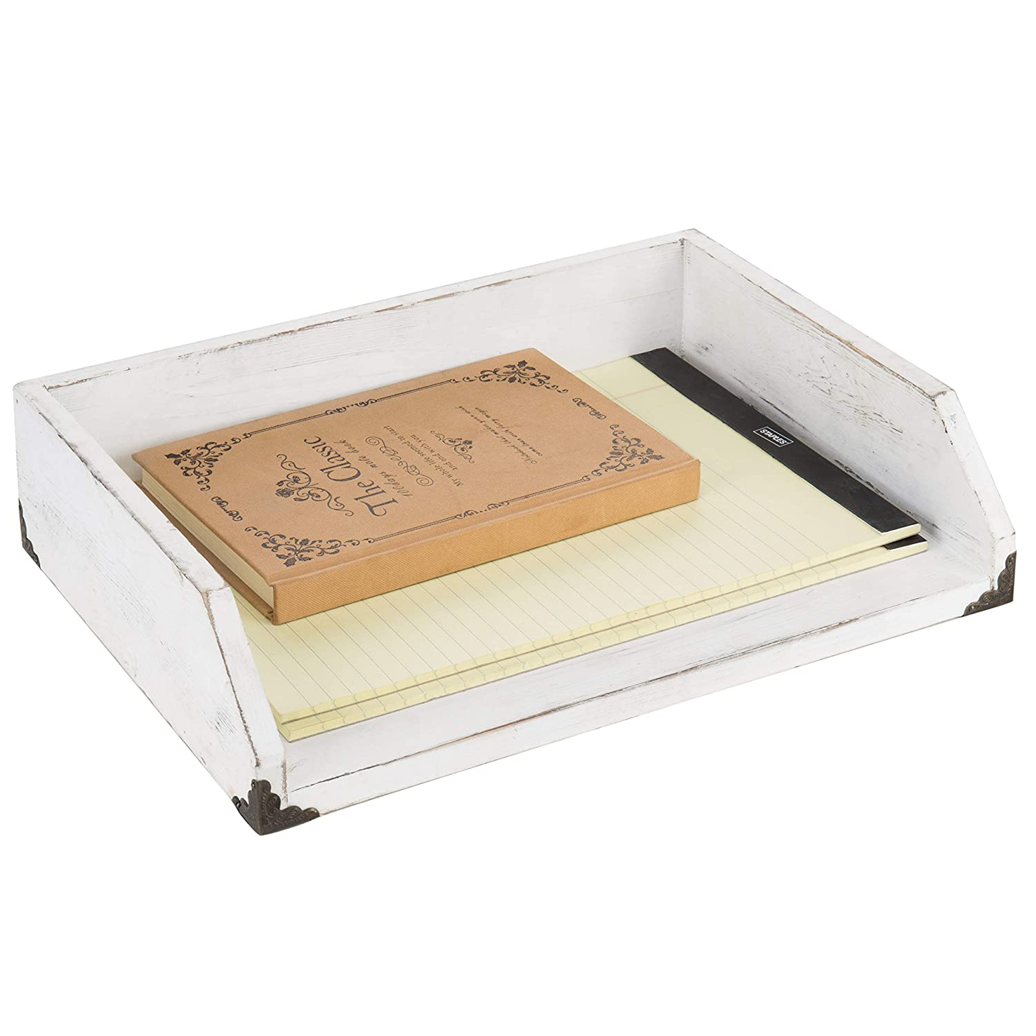 MyGift Vintage White Wood Stackable Document Tray