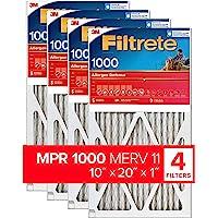 Filtrete 10x20x1, AC Furnace Air Filter, MPR 1000, Micro Allergen Defense, 4-Pack (exact dimensions 9.81 x 19.81 x 0.81)