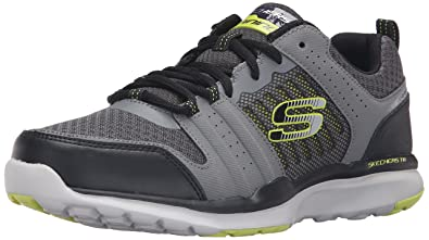 Skechers Sport Men's Quick Shift Tr Oxford Sneaker,Charcoal/Lime,7.5 ...