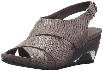 Anne Klein Frauen Offener Zeh Leger Sandalen mit Keilabsatz Grau Groesse 6.5 US/37.5 EU QhAEdP1eOq