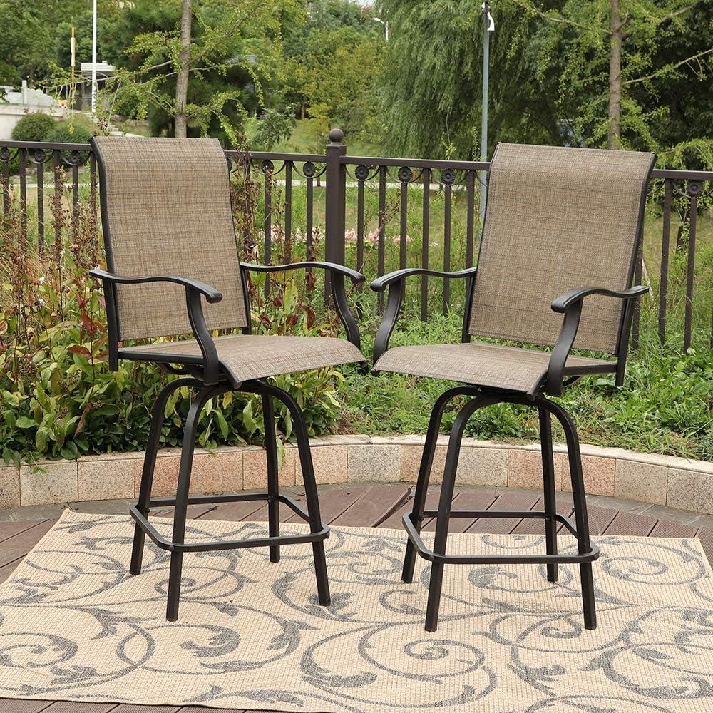 PHI VILLA Swivel Bar Stools All-Weather Patio Furniture, 2 Pack: Garden & Outdoor