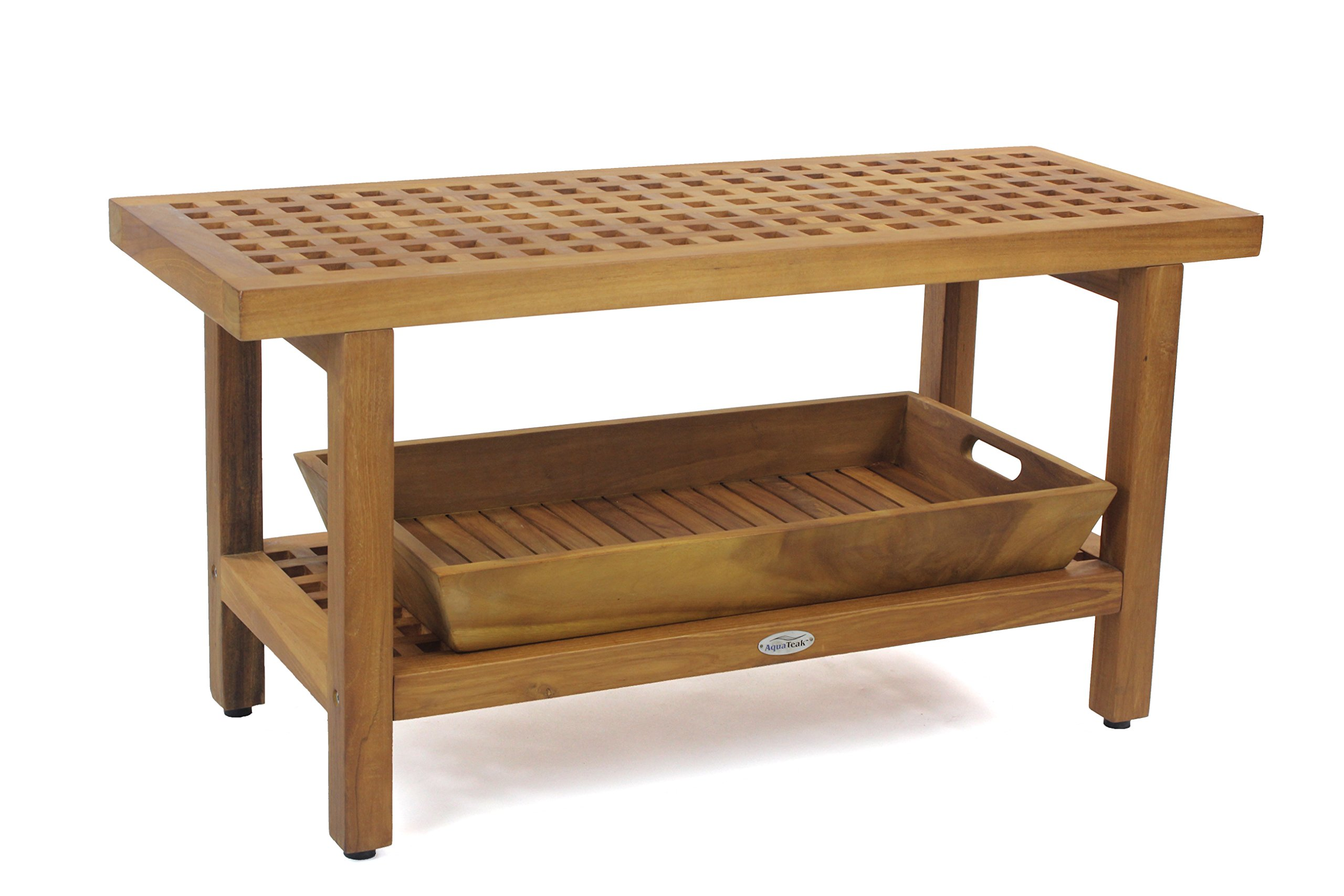 The Original 36'' Grate Teak Shower Bench With Shelf & Large Serving Tray