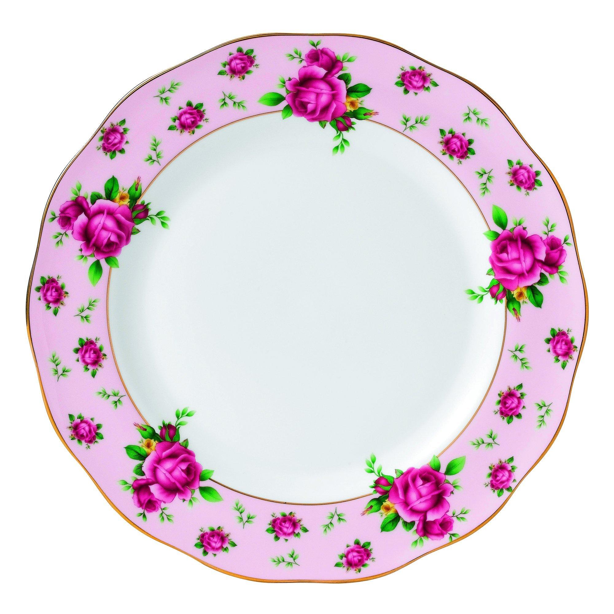 Royal Albert New Country Roses Vintage Formal Dinner Plate, White/Pink