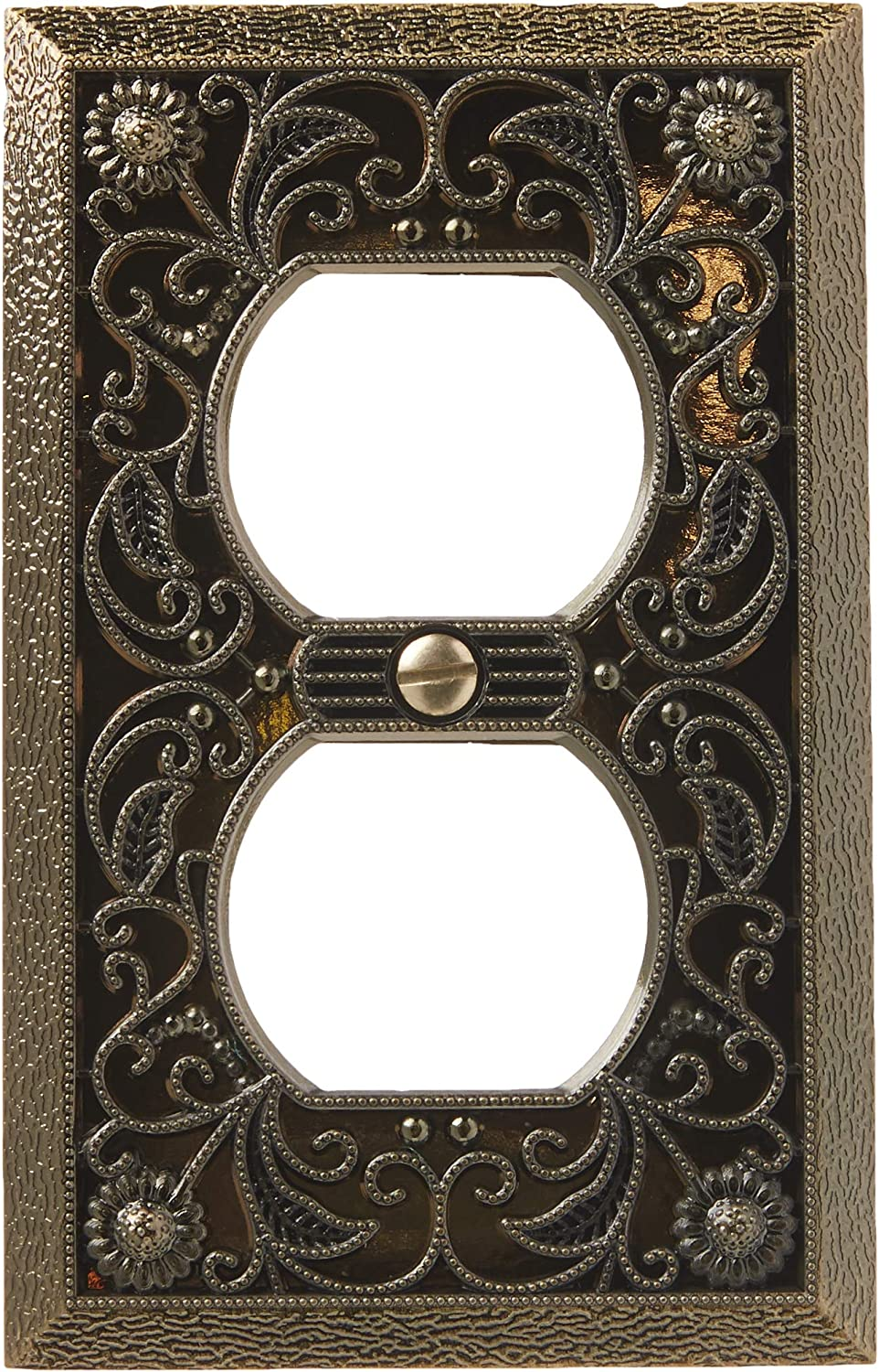 Amerelle 65dab Filigree Cast Metal Wallplate 1 Duplex Outlet Antique Brass Switch Plates