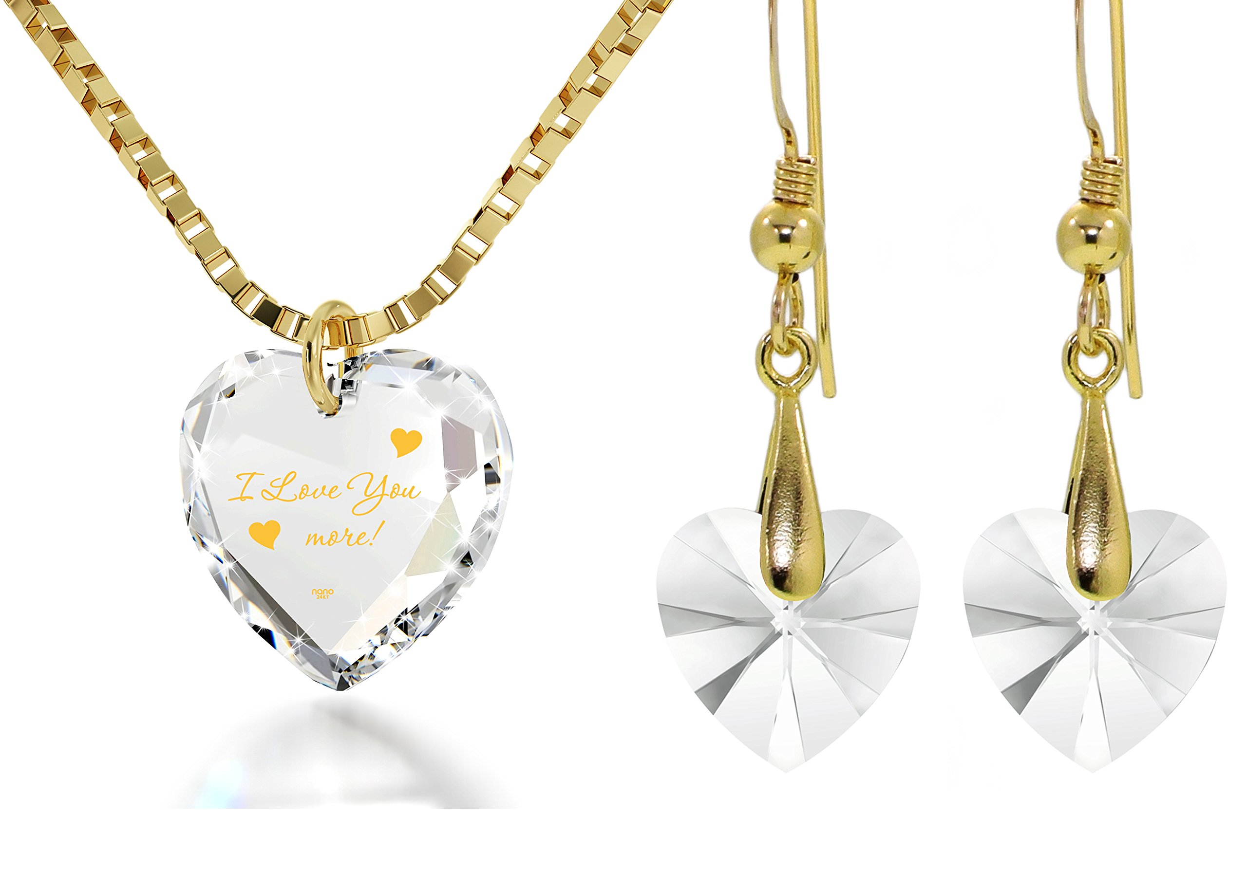 Crystal Tiny Heart Jewelry Set Gold Inscribed I Love You More Necklace and Drop Earrings, 18'' Gold Filled