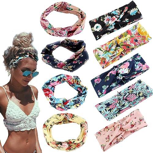 Adramata 9 Pcs Headbands for Women Girls Wide Boho Knotted Yoga Headband  Head Wrap Hair Band 7c37b7c5fe7