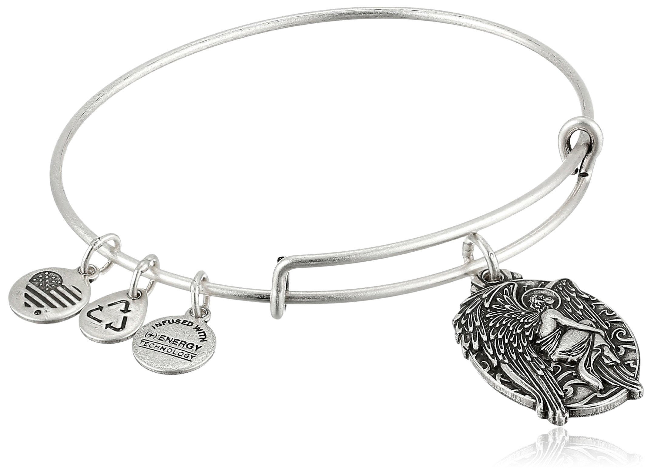 Alex and Ani Guardian of Answers Rafaelian Silver Expandable Wire Bangle Bracelet, 2.5''