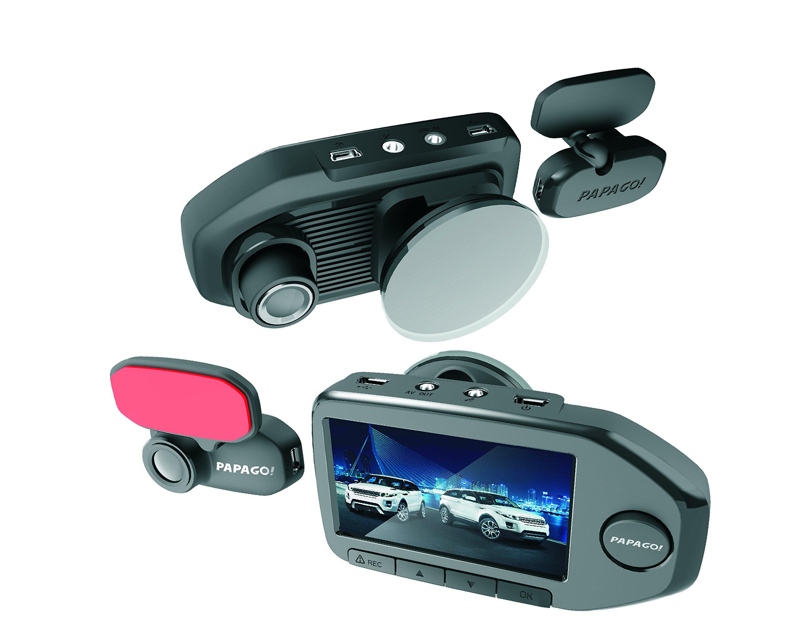 PAPAGO! Car Dash Camera GoSafe 760 Full HD Dual Channel Dash Cam 1080P Car DVR , Car Cam, Night Vision ,Backup Camera, Free 32GB Micro SD Card GS76032G
