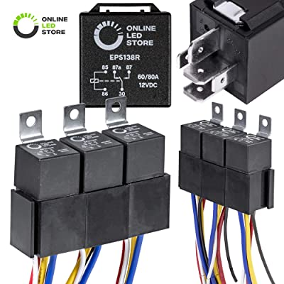 ONLINE LED STORE 5 Pack Bosch Style 5-Pin 12V Relay Kit [60/80 Amp Heavy Duty] [Interlocking Harness Socket Holder] [12 AWG Hot Wires] [SPDT] 12 Volt Automotive Relays for Auto Fan Cars: Automotive