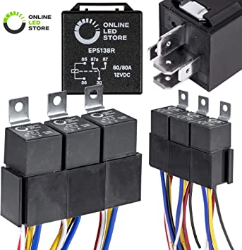 Amazon Com Online Led Store 5 Pack Bosch Style 5 Pin 12v Relay Kit 60 80 Amp Heavy Duty Interlocking Harness Socket Holder 12 Awg Hot Wires Spdt 12 Volt Automotive Relays For Auto Fan Cars Automotive