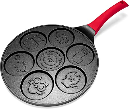 Pancake Maker – Non-stick Pancake Pan Griddle 10 Inch Grill Pan Mini Crepe Maker 7-Mold Pancakes with Silicon Handle, Black Animal