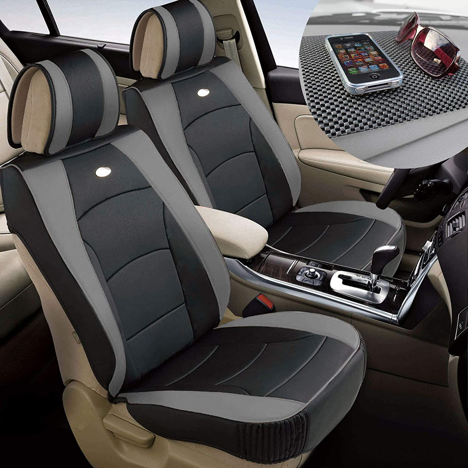 TLH Ultra Comfort Leatherette Seat Cushions Front, Gray Black Color w/Non Slip Dash Mat