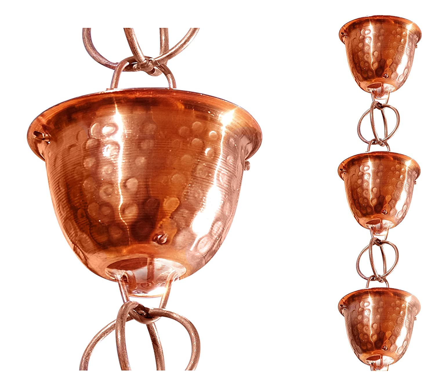 Monarch Pure Copper Hammered Cup Rain Chain, 8-1/2-Feet Length Monarch Int'l Inc. 26558