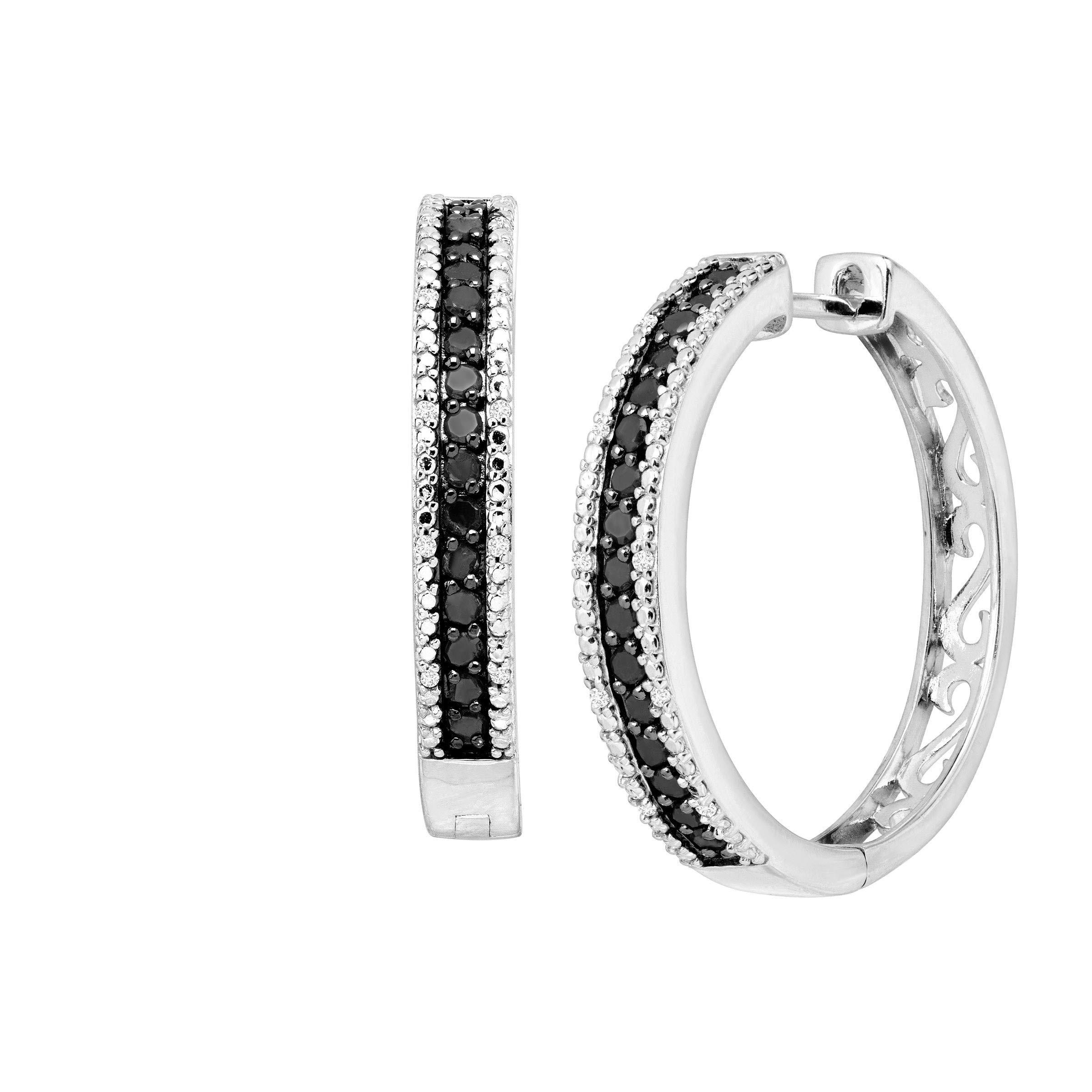 1 ct Black & White Diamond Hoop Earrings in Sterling Silver