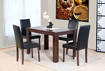 Superb Abakus Direct Dover Dark Brown Oak Effect Wooden Dining Table And 4 High Back Chair Set Download Free Architecture Designs Ferenbritishbridgeorg