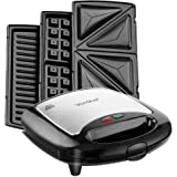 VonShef 3 in 1 Sandwich/ Panini Maker, Waffle Iron & Grill with Removable Plates - 700W - Stainless Steel