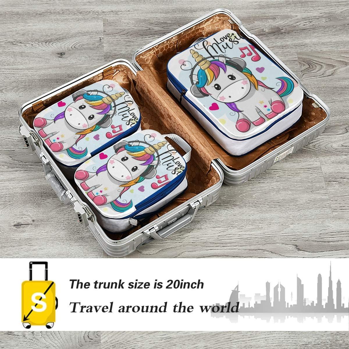 c Unicorn With Headphones 3 Set Packing Cubes,2 Various Sizes Travel Luggage Packing Organizers
