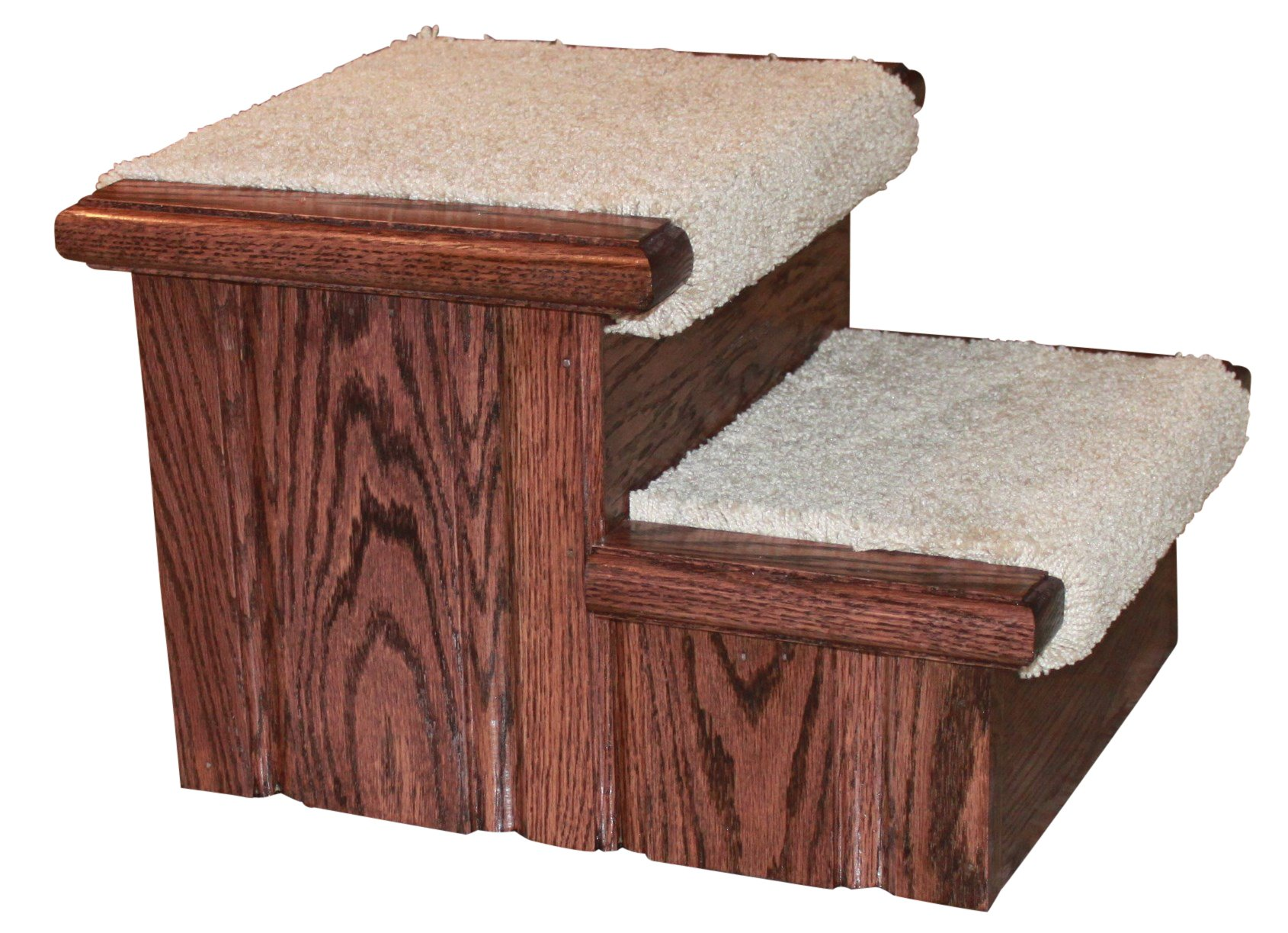 Rich Cherry Finished Solid Oak Step Stool With Carpeted Tread 11 ½'' Tall