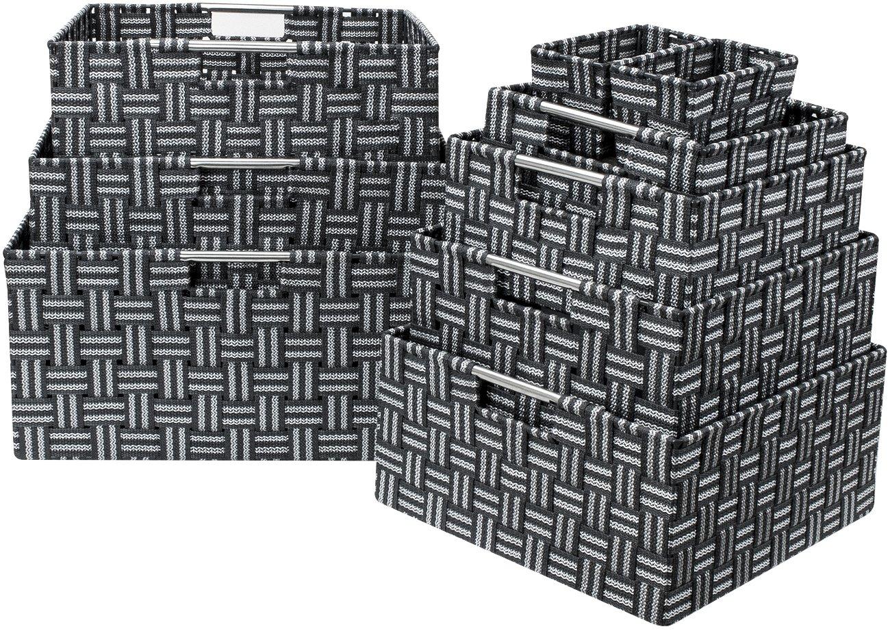 Sorbus Foldable Storage Cube Woven Basket Bin Set - Built-In Carry Handles - Great for Home Organization, Nursery, Playroom, Closet, Dorm, etc (Woven Basket Bin Cubes - 2 Pack, Beige) WEVBIN2-BIA