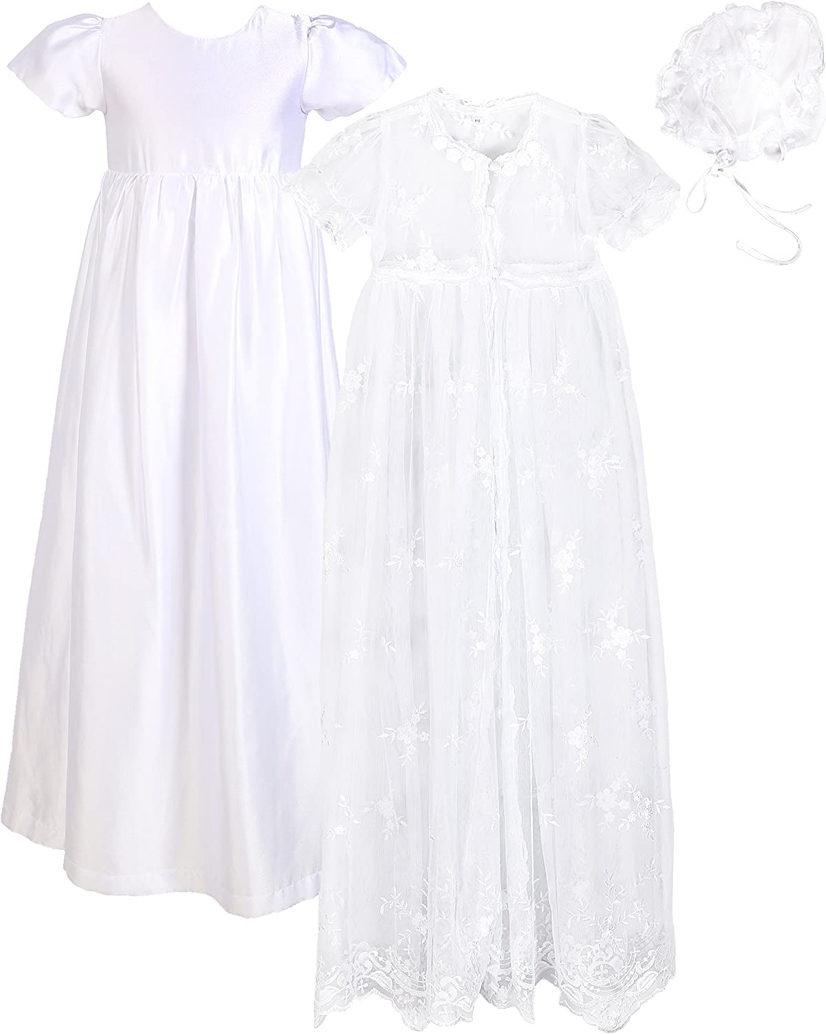 NIMBLE Baby Girls Christening Lace Mesh Dress Set with Headband for 0-12 Months