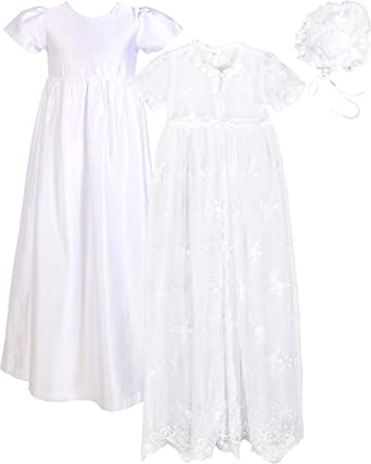 Baby Infant Girl Toddler Christening Baptism Bonnet Formal Dress White 0-18 M