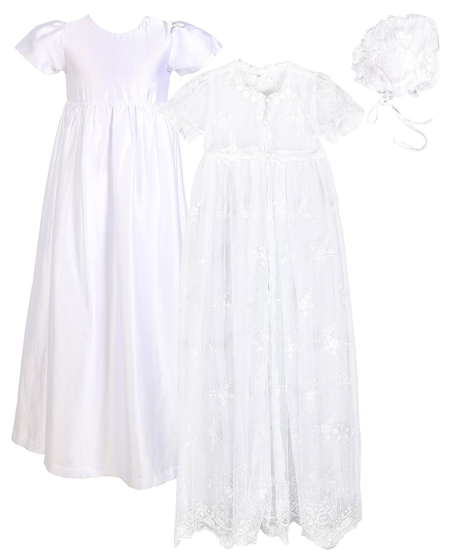 Baby Girls Baptism 3PCS Set(Lace Mesh Dress, Satin Gown, Bonnet) for 0-18 Months