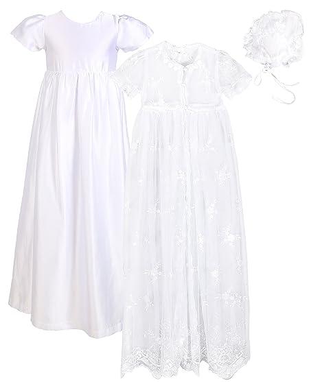 88971790e5aea Baby Girls Baptism 3PCS Set(Lace Mesh Dress, Satin Gown, Bonnet) 0-18 Months