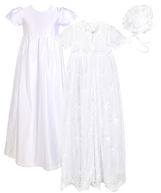 Amazon.com: Bebé niña bautismo 3pcs Set (de encaje de malla ...