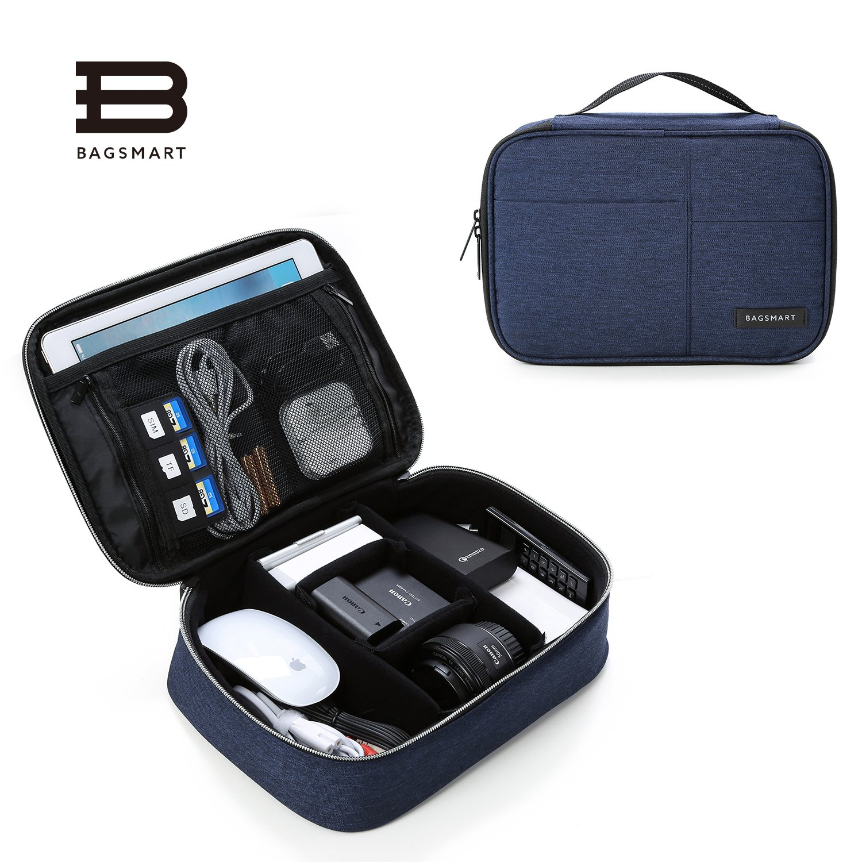 BAGSMART Electronics Travel Organizer Bag for Adaptors, Chargers, iphone, ipad air, ipad mini, 9.7'' Ipad Pro, Kindle, Blue