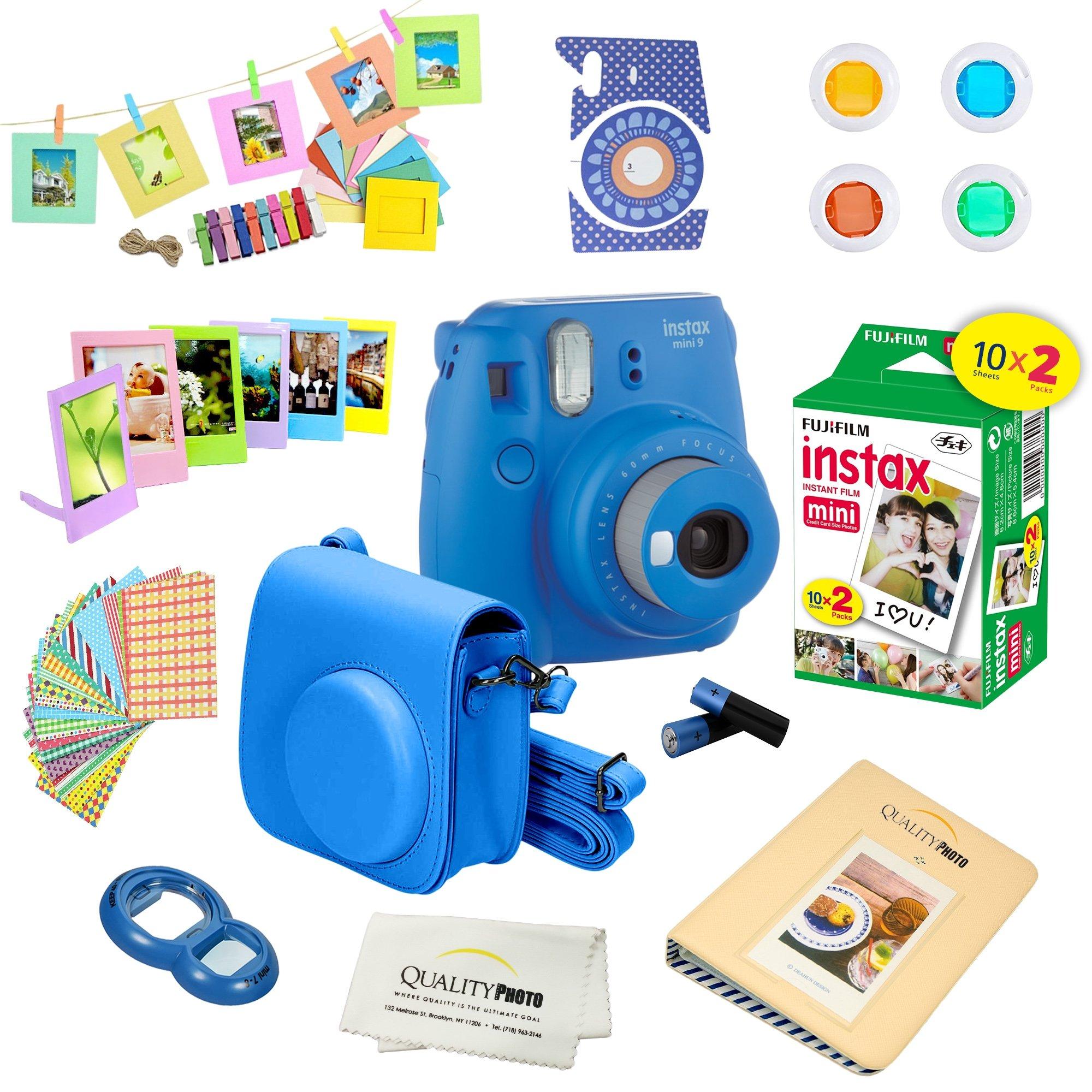 Fujifilm Instax Mini 9 Instant Camera – COBALT BLUE + Fuji INSTAX Film (20 Exposures) + Multifarious Instax Accessory Kit BUNDLE Includes; Case/Strap & Album + Fun Frames/Stickers/Lenses + MORE by Quality photo
