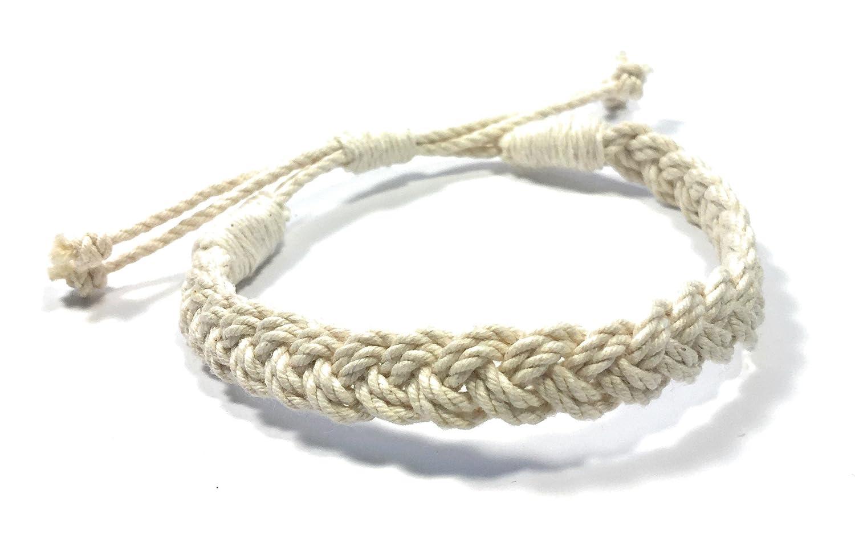 568d846d98eb6 Amazon.com: Adjustable Woven Sailor Knot Bracelet - Natural White ...