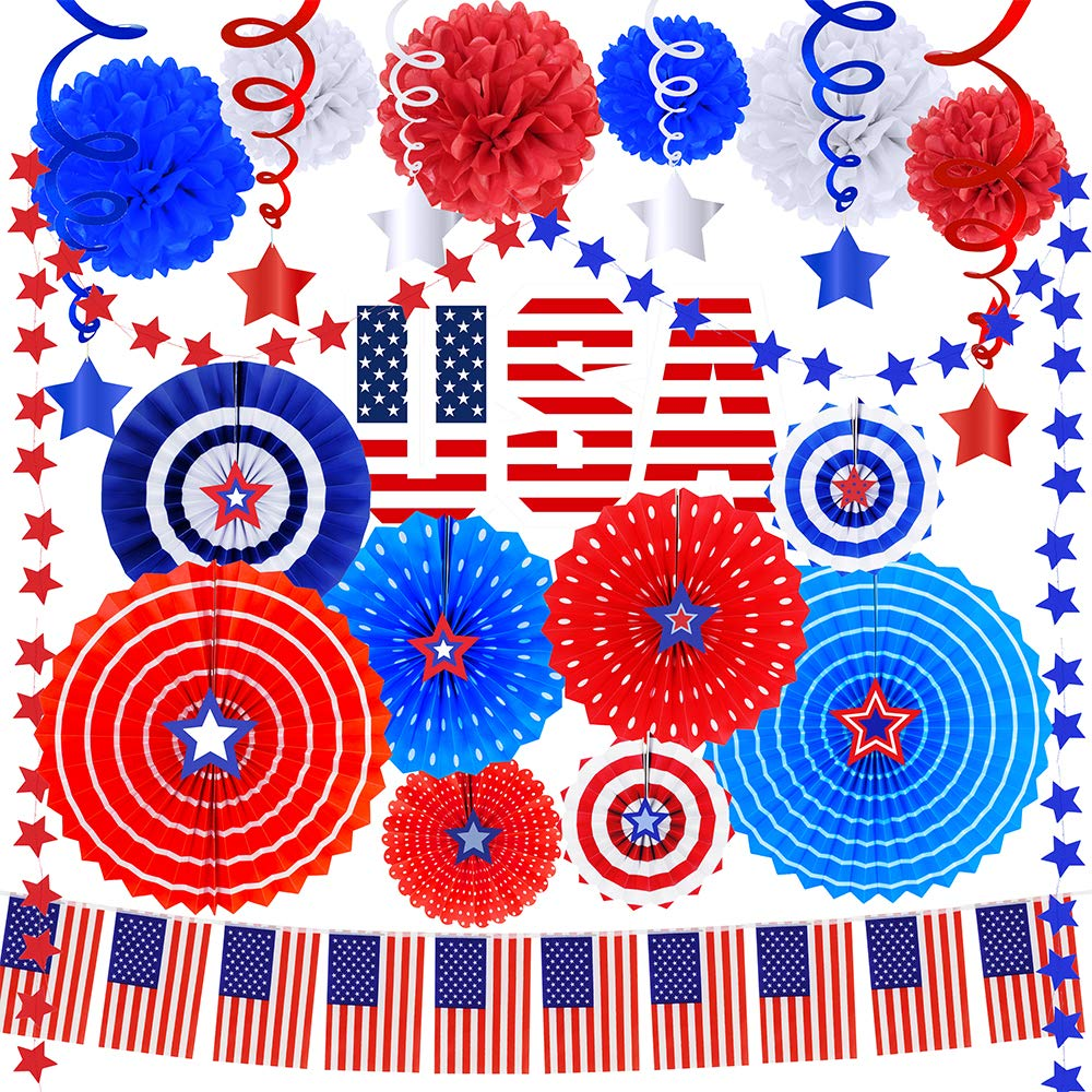 Supla 40 Pack Patriotic Party Decorations Set - Includes Red White Blue Hanging Paper Fans Patriotic Garland Streamers American Flags Banner String Star Hanging Swirl Tissue Paper Pom Poms for 4th of July Memorial Day